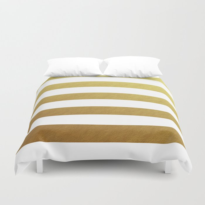 gold stripes Duvet Cover by Her Art | Society6