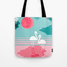 Chill Vibes - memphis retro throwback 1980s 80s neon pop art flamingo paradise socal vacation  Tote Bag