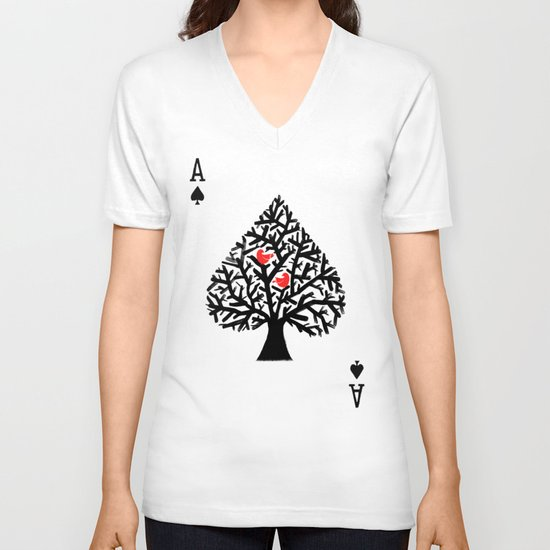 Ace of spade V-neck T-shirt