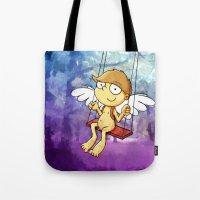 Angel boy on a swing Tote Bag