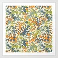 Summer Tropical Leaves Art Print