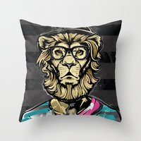 Hipster Lion on Black Throw Pillow