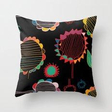 wild flower black Throw Pillow