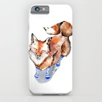 iPhone & iPod Case featuring Smiling Red Fox in Blue Socks by Goosi