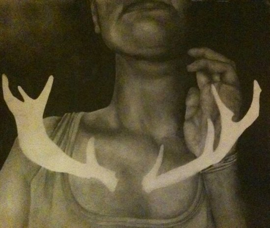Self Portrait with Antlers Canvas Print