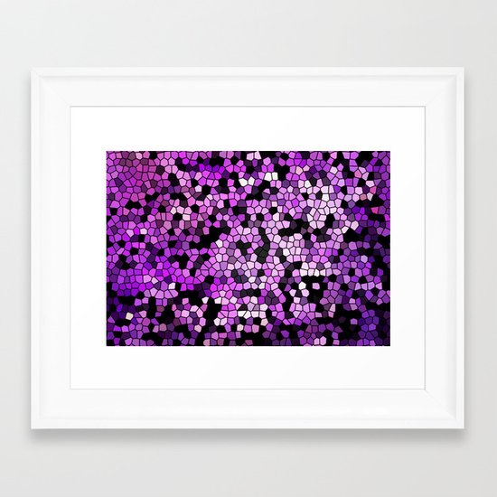 STAINED GLASS PURPLES Framed Art Print