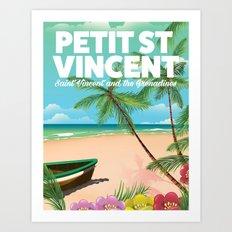 Petit Saint Vincent vintage style beach poster Art Print