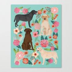 Labrador Retriever dog breed floral pattern for dog lover chocolate lab golden retriever labradors  Canvas Print