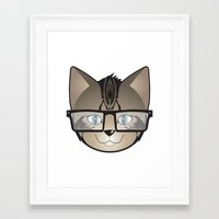 Tabby Glasses Framed Art Print