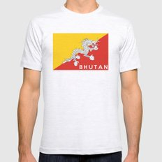 Bhutan country flag name text Mens Fitted Tee Ash Grey SMALL