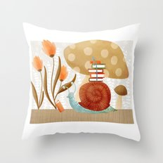 The Bookish Forest: Snail Throw Pillow