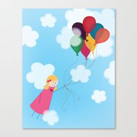 Girl With Balloons Canvas Print