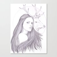 The White Deer Canvas Print
