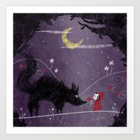 Little Red and Wolf Art Print