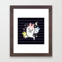 naughty halloween bunny ghost Framed Art Print