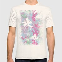 Palm Trees Mens Fitted Tee Natural SMALL