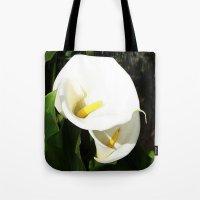Beautiful White Calla Flowers In Bright Sunlight Tote Bag