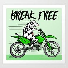 Cow riding a motorbike Art Print