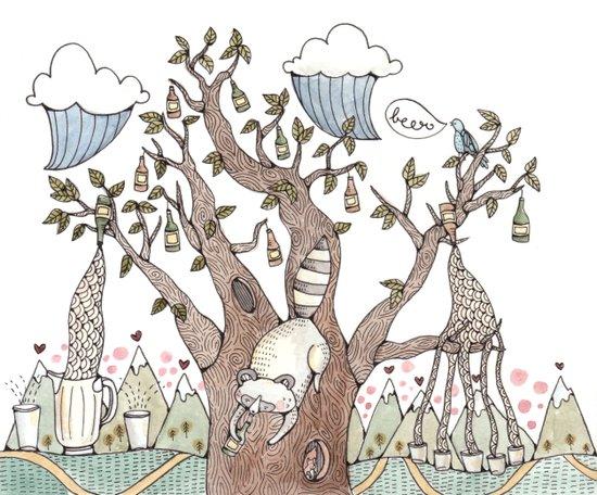 Portland Beer Tree Art Print