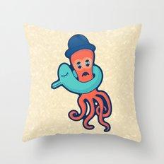 Pulpo con flotador Throw Pillow