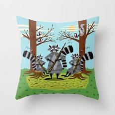 Raccoons Playing Bassoons Throw Pillow