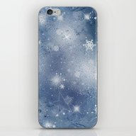 Silver Blue Snowflakes iPhone & iPod Skin