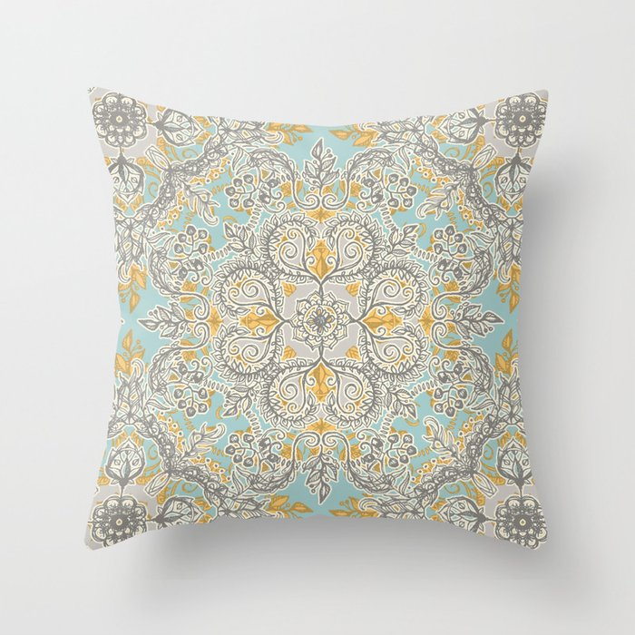 Soft Yellow Decorative Pillow : Gypsy Floral in Soft Neutrals, Grey & Yellow on Sage Throw Pillow by Micklyn Society6