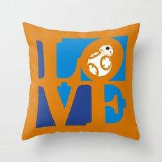 Robot LOVE - Orange Throw Pillow