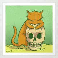 Kitty Hugs Art Print