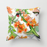 Hummingbirds And Trumpet… Throw Pillow