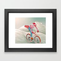 rushing home for christmas Framed Art Print