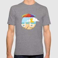 Beach Day  Mens Fitted Tee Tri-Grey SMALL