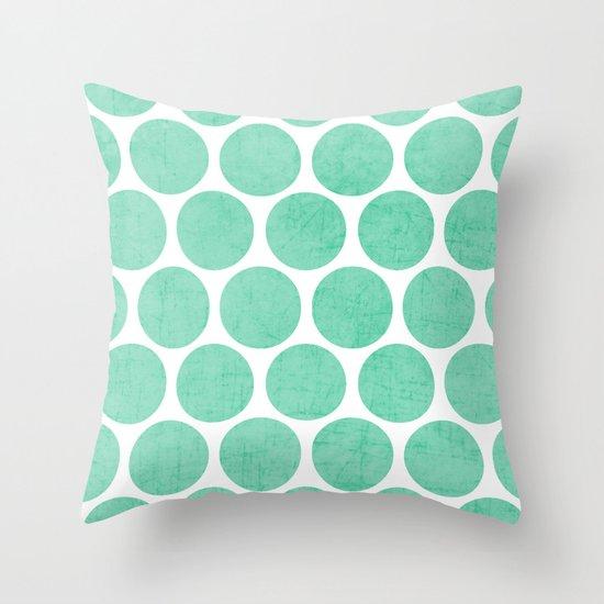 mint polka dots Throw Pillow