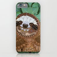 iPhone Cases featuring Happy Sloth by ArtLovePassion