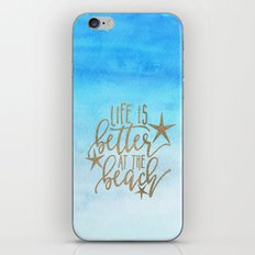 LIFE IS BETTER AT THE BEACH - typography and watercolor iPhone & iPod Skin