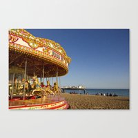 Golden Carousel at the Beach Canvas Print