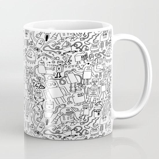 Infinity Robots Black & White Mug