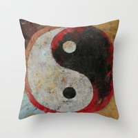 Yin Yang Dragon Throw Pillow