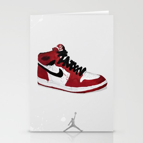 Nike Air Force 1 - Retro - Red & Black & White Stationery Card