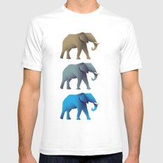 Elephants White SMALL Mens Fitted Tee