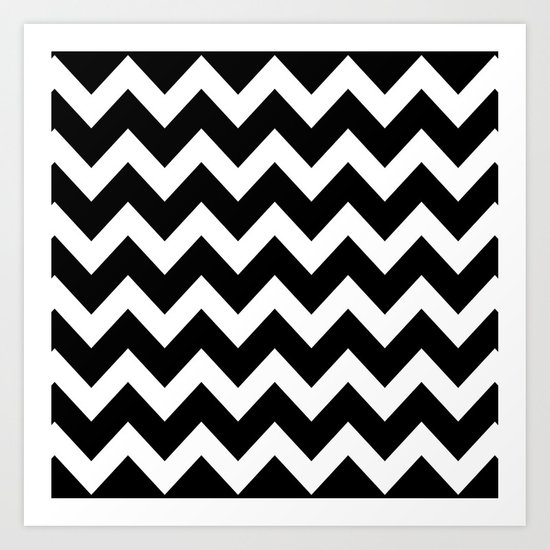chevron black white art print by beautiful homes society6. Black Bedroom Furniture Sets. Home Design Ideas