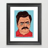 Ron Swanson (color) Framed Art Print