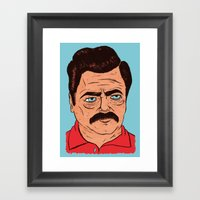Ron Swanson (color) Framed Art Print