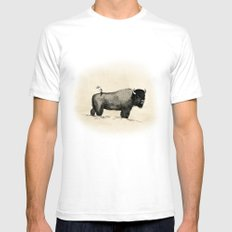 Bison Mens Fitted Tee SMALL White