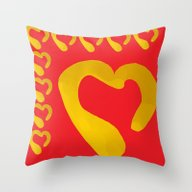 Gold Hearts On Red Throw Pillow