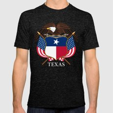 Texas Flag And Eagle Cre… Mens Fitted Tee Tri-Black SMALL