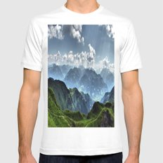 Mountain Peaks in Austria SMALL Mens Fitted Tee White