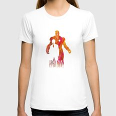 Iron Man Womens Fitted Tee White SMALL