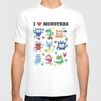 Monster Love Mens Fitted Tee White SMALL