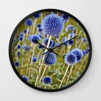 BLUE WILD THISTLE Wall Clock